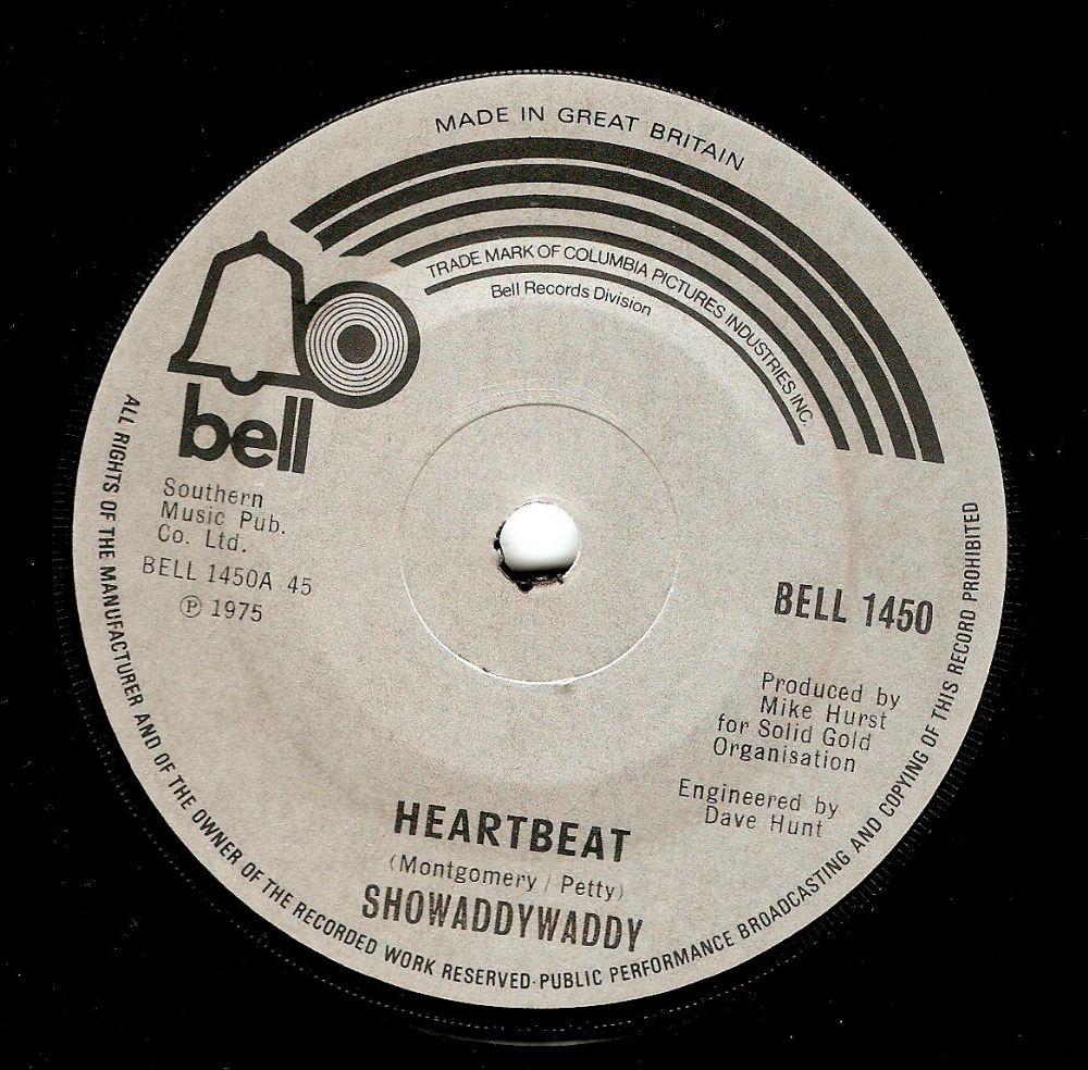 SHOWADDYWADDY Heartbeat Vinyl Record 7 Inch Bell 1975